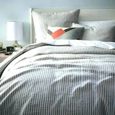 ticking stripe ruffled bedspread quilt flannel pinstripe duvet cover shams frost gray west elm for navy