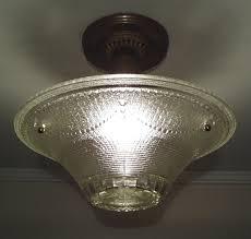 antique 1930s vintage art deco ceiling light fixture clear pattern glass shade