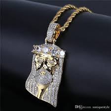 whole hip hop iced out cz necklaces simulated diamond big stones crown pharaoh pendant necklace micro pave cubic zircon with chain men gift chunky