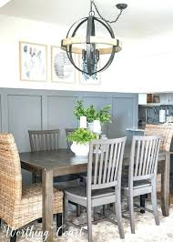 small dining room modern farmhouse gray board and batten wall orb chandelier rustic industrial for