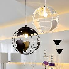 White modern pendant light fixtures bulb Vintage Modern Earth Model Creative Pendant Light Dia 30cm Black White Iron Cage Hanging Lamp Office Study Restaurant Bar Light Fixture Kitchen Plans Decorations And Style Stock Ideas Modern Earth Model Creative Pendant Light Dia 30cm Black White Iron