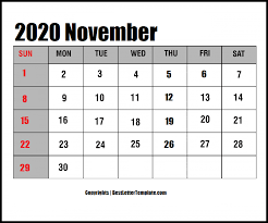 November 2020 Calendar Landscape Free Printable November 2020 Calendar Template In Pdf Excel