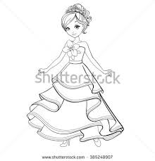 coloring book vector ilration of beautiful princess in ball dress