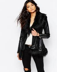 women jackets river island leather look jacket with faux fur collar and hem color