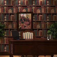 office backdrop. American Retro Wallpaper Pattern Bookcase Bookshelf Stereo England Office Living Room Bedroom Den Backdrop