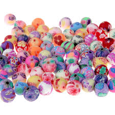 2019 8mm fimo polymer clay beads printing flower pattern round loose beads mix color for jewelry making 5bags from dparrot love999 7 84 dhgate