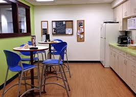 Immaculate Blue High Armless Stools And Small Pedestal Table As Well  Mini Kitchen In Office Break Room Ideas Pinterest