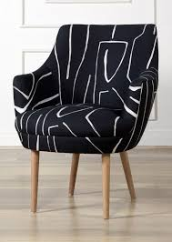 kelly wearstler sonara arm chair tapered oak legs and upholstered in kelly s graffito fabric