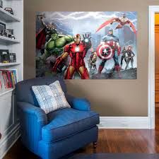 avengers assemble mural large officially licensed marvel removable wall graphic fathead on marvel comics mural wall graphic with shop marvel wall decals posters fathead superheroes