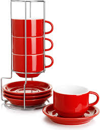 April 5, 2017 coffee mugs. Amazon Com Sweese 406 404 Porcelain Stackable Cappuccino Cups With Saucers And Metal Stand 8 Ounce For Specialty Coffee Drinks Cappuccino Latte Americano And Tea Set Of 4 Red Cup Saucer Sets