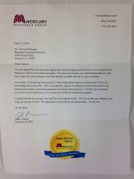 mercury insurance gold level letter