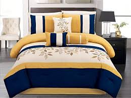 blue and yellow bedding. Perfect And Amazoncom 7 Pieces Luxury Navy Blue Yellow OffWhite Embroidered  Comforter Set  Bedinabag Queen Size Bedding Home U0026 Kitchen On Blue And Yellow Bedding R