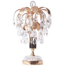 1960s one light brass crystal glass table lamp by palwa for