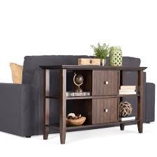 sofa table with storage. Simpli Home Acadian Dark Tobacco Brown Storage Console Table Sofa With A