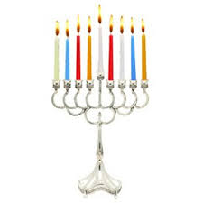 silver plated hanukkah menorah for candle use