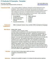 It Graduate Cv Example Cv Examples Cv Template Cv Design