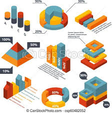 Different Charts Different Isometric Elements For Business Infographic Graphic Diagrams 3d Charts