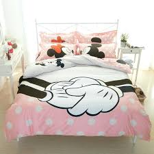 mickey and minnie mouse kissing double bedding designs