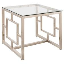 contemporary metal end table with glass top geometric motif end table