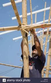 Asiatische Builder Binden Ab Und Bambus Ger St Auf Ko Phi Phi Don
