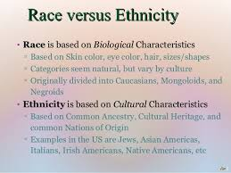 race ethnicity mini lecture race versus ethnicity• race is based on biological characteristics ▫ based on skin color