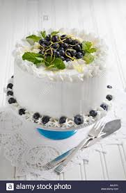 Blueberry Cake With Vanilla Icing Decorated With Blueberries Lemon