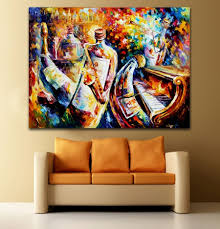 jazz canvas wall art throughout well known palette knife printed on canvas painting bottle jazz