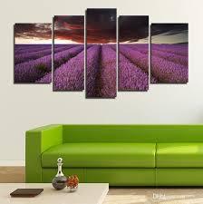 landscape 5 panels giclee canvas prints purple floral artwork on canvas lavender flower wall art for  on purple and green canvas wall art with 2018 landscape 5 panels giclee canvas prints purple floral artwork