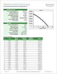 excel retirement spreadsheet retirement withdrawal calculator for excel