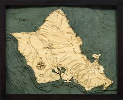 West Galveston Bay Depth Chart Oahu Wood Carved Topographic Depth Chart Map In 2019