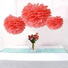 Tissue Paper Flower Centerpieces Somnr Pack Of 12pcs Mixed 3sizes Coral Tissue Paper Pom Poms Decorative Flowers Wedding Centerpieces New Year Birthday Bridal Shower Party Decoration
