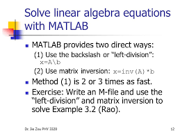 solve linear algebra equations with matlab solution of simultaneous linear algebraic equations lecture i