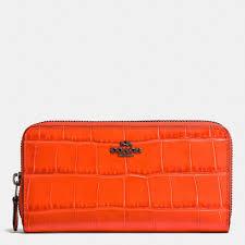 Accordion Zip Wallet In Croc Embossed Leather,   Dark Gunmetal Deep Coral