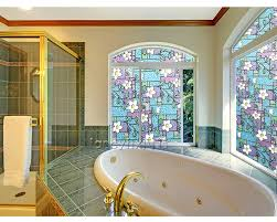 Stained Glass Window Designs For Bathrooms Us 16 99 Flower Privacy Textured Stained Glass Window Film Home Decorative Stained Glass Film Static Cling Window Sticker Decorative In Decorative