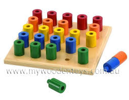 Wooden Peg Board Game Stacking Wooden Peg Board Toy at My Wooden Toys 19