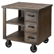 table on wheels. caster end table on nonmoveable wheels - reclaimed gray b
