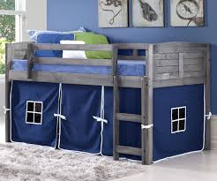 Louvered Bedroom Furniture Louver Low Loft Bed With Blue Tent Antique Grey 790aag B Donco