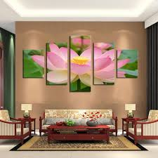 no framed shippment in rolled thank if need us framed for you pls contact us to check total price for you thanks modern wall art 5 panel lotus  on lotus panel wall art with 2018 modern wall art 5 panel lotus painting living room decor art