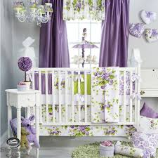 baby girl nursery bedding sets with purple colors room and curtains