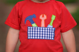 Little Boy Applique Designs Boys Red Toolbox Applique Shirt Is Adorable For Any Occasion