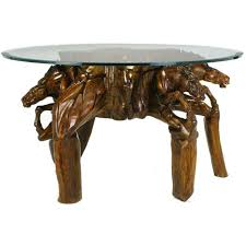 american incredible equine carved wood coffee table for