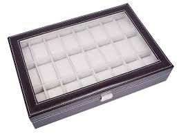 large brown leather 24 grid watch display case glass top jewelry box organizer 1791286087