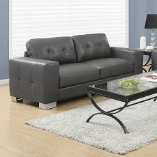 monarch specialties modern charcoal grey faux leather sofa