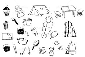 キャンプ用品いろいろ イラスト素材 3807588 無料 フォトライブ