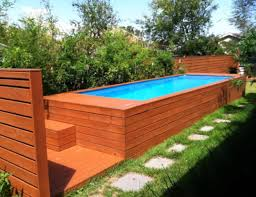 Cool Backyard Wood Surround For Semi Inground Pool Pool Idea Magnificent