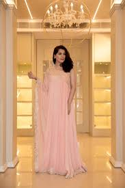 Baby Pink Crepe Kaftan Gown Sionnah