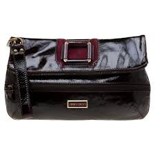 jimmy choo dark burdy patent leather and suede large mave foldover clutch for