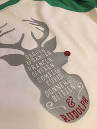 Reindeer List Of Names In Rudolph Silhouette With Glitter Red Nose