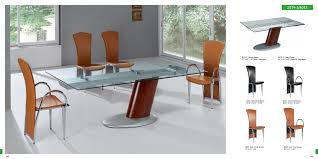 pretty rectangular gl top modern dining table with single chrome base legs also modern brown dining chairs sets as decorate in open views modern dining