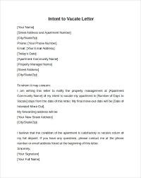 Intent To Vacate Letter 7 Free Samples Examples Formats
